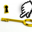 Stock Photo: Gold key and keyhole, concept of opportunity with hand icon