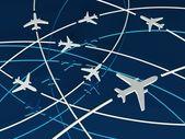 Avión rutas, azul fondo 3d — Foto de Stock
