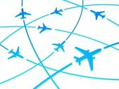 3d Airplane Routes, white background — Stock Photo