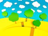 Ilustração dos desenhos animados 3d de paisagem para crianças — Foto Stock