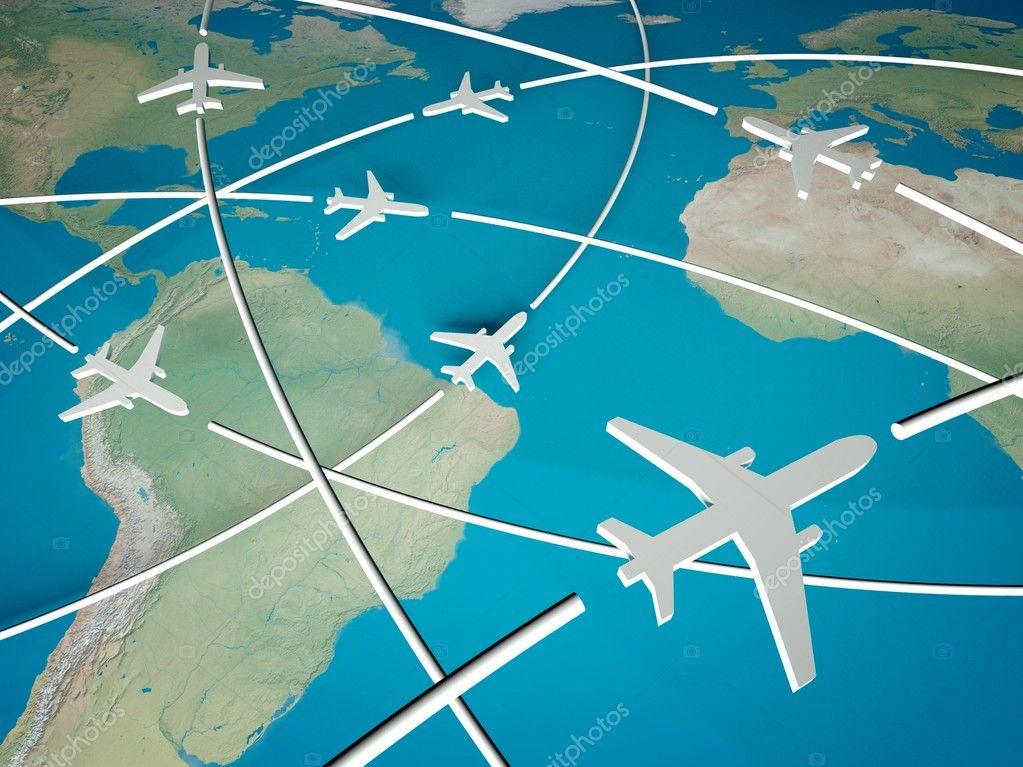 在世界地图上的 3d 飞机路线.