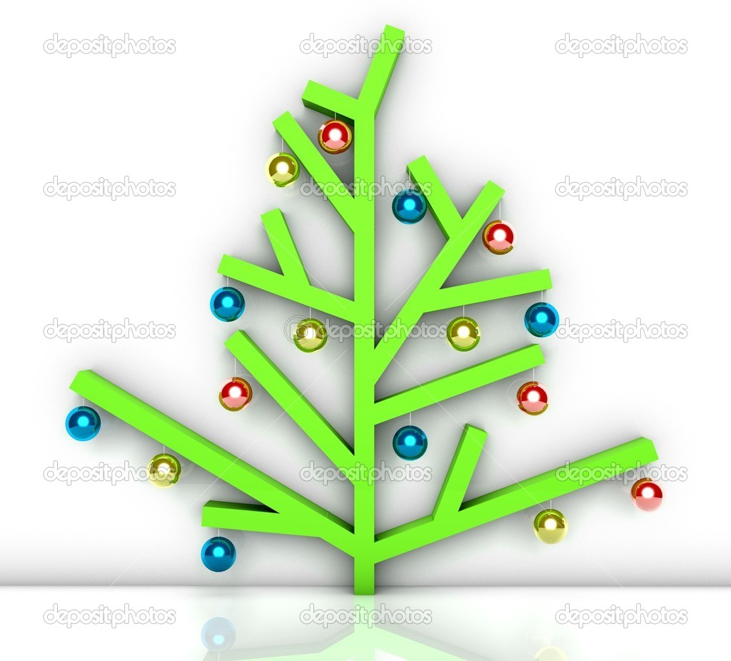 Modern minimalist christmas tree with baubles stock for Minimalist christmas tree