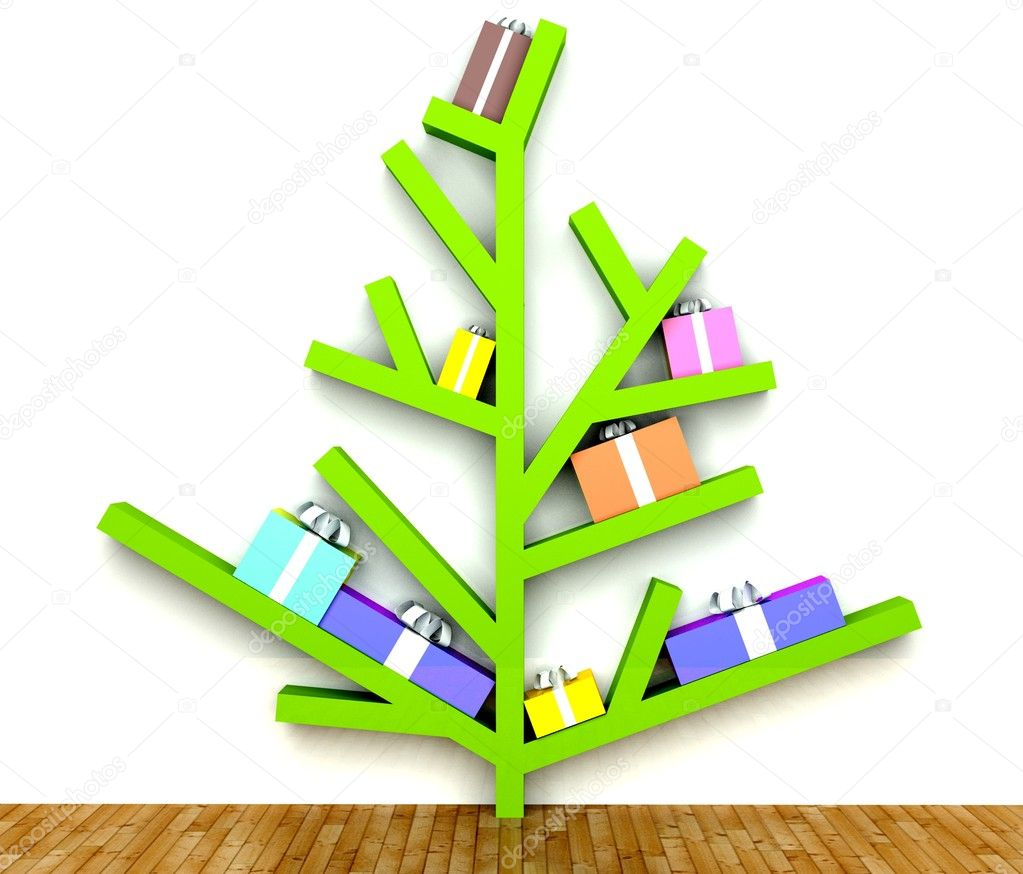 modern minimalist christmas tree with gifts on branches. Black Bedroom Furniture Sets. Home Design Ideas