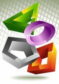 Geometric shapes. 3d. — Stock Vector