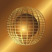 Gold 3d sphere. — Stock Vector