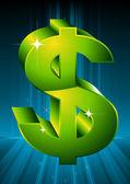Green symbol of dollar. — Stock Vector