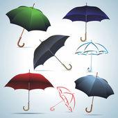 Umbrellas of different colors. — Stock Vector