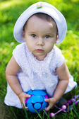 Baby girl outdoors in the grass — Stock Photo
