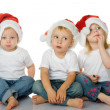 Stock Photo: Christmas kids in Santa hat