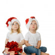 Two kids dreaming about christmas — Stock Photo