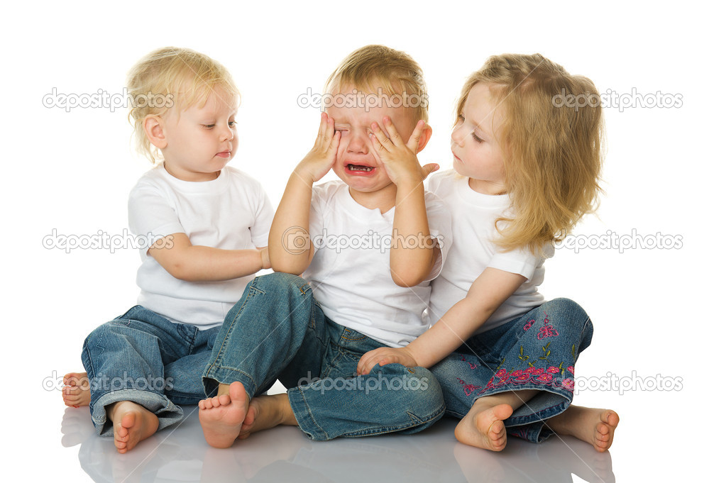 Two little girls calm the crying boy. isolated on the white background  — Stock Photo #7650006
