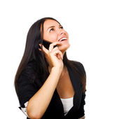 Business woman with mobile phone over white background — Stock Photo