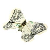 One dollar origami. Isolated — Stock Photo