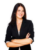 Business woman smiling over white background — Stock Photo