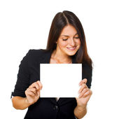 Woman with blank signboard — Stock Photo