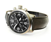 Luxury watches with a leather strap on a white background — Stock Photo