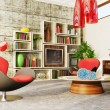 Modern interior room with nice furniture inside. - 图库照片
