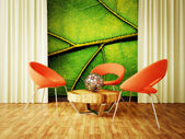современный интерьер комнаты с хорошей мебелью внутри. — Стоковое фото