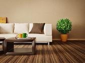 Moderní interiér pokoj s pěkným nábytkem uvnitř. — Stock fotografie
