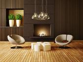 Pièce intérieure moderne avec un mobilier agréable à l'intérieur. — Photo
