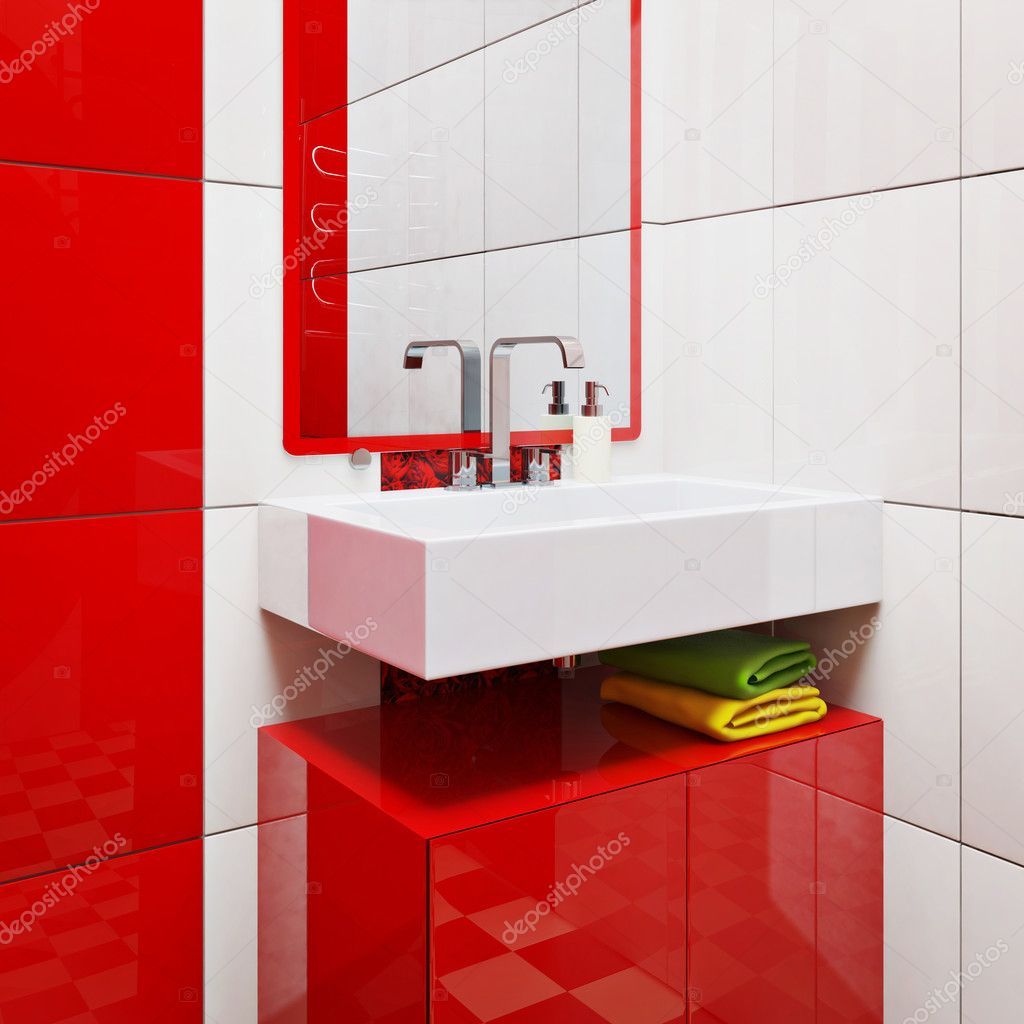 Modern bathroom with bright tiles — Stock Photo #6916675