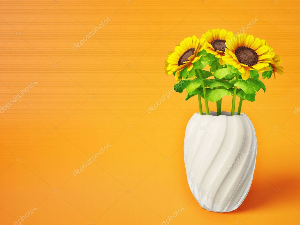 Sunflowers in a vase isolated on orange — Stock Photo #6916715