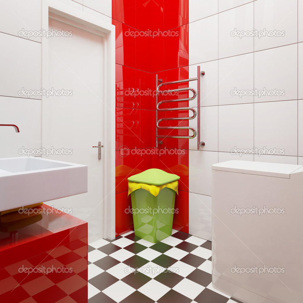 Modern bathroom with bright tiles  Photo #6916757
