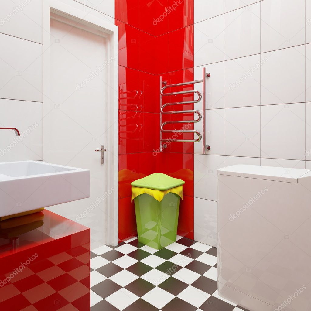 Modern bathroom with bright tiles   #6916757