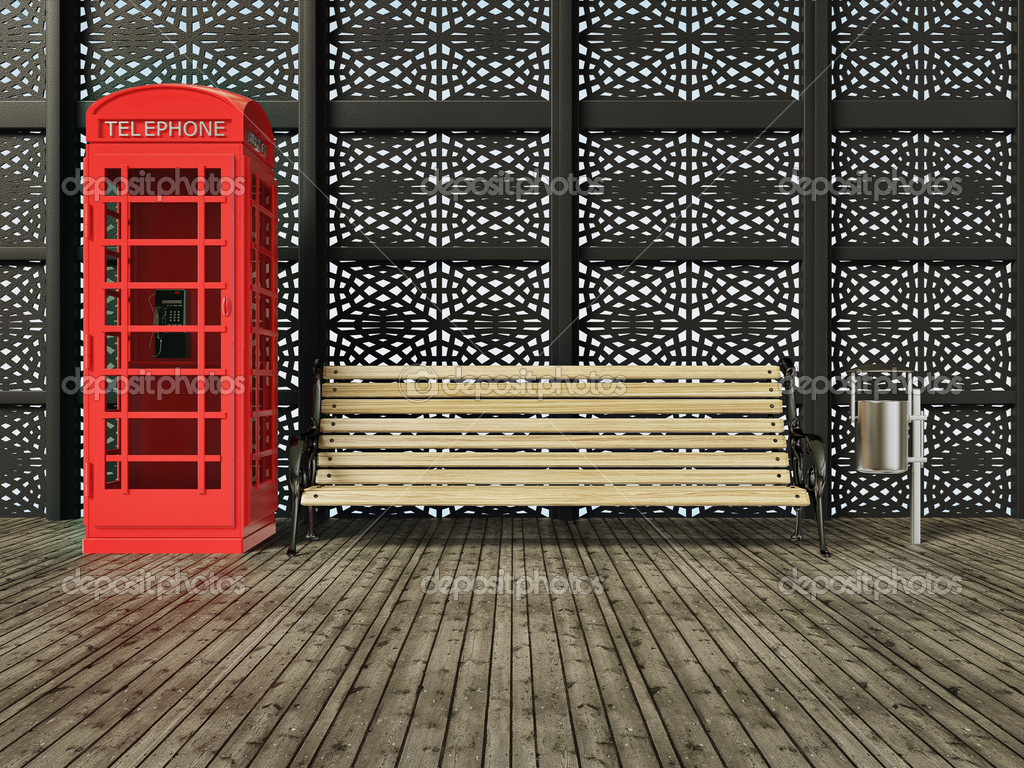 Red call box on a street in London — Foto Stock #6916796