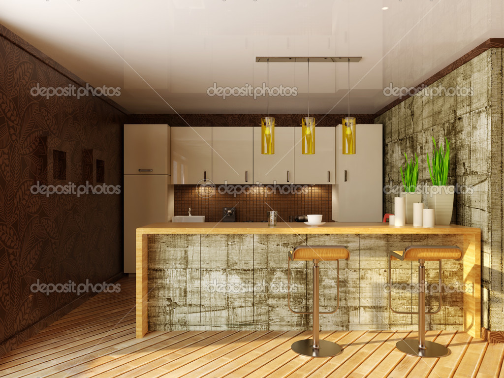 Modern interior kitchen with a wooden furniture  Stock Photo #6918374