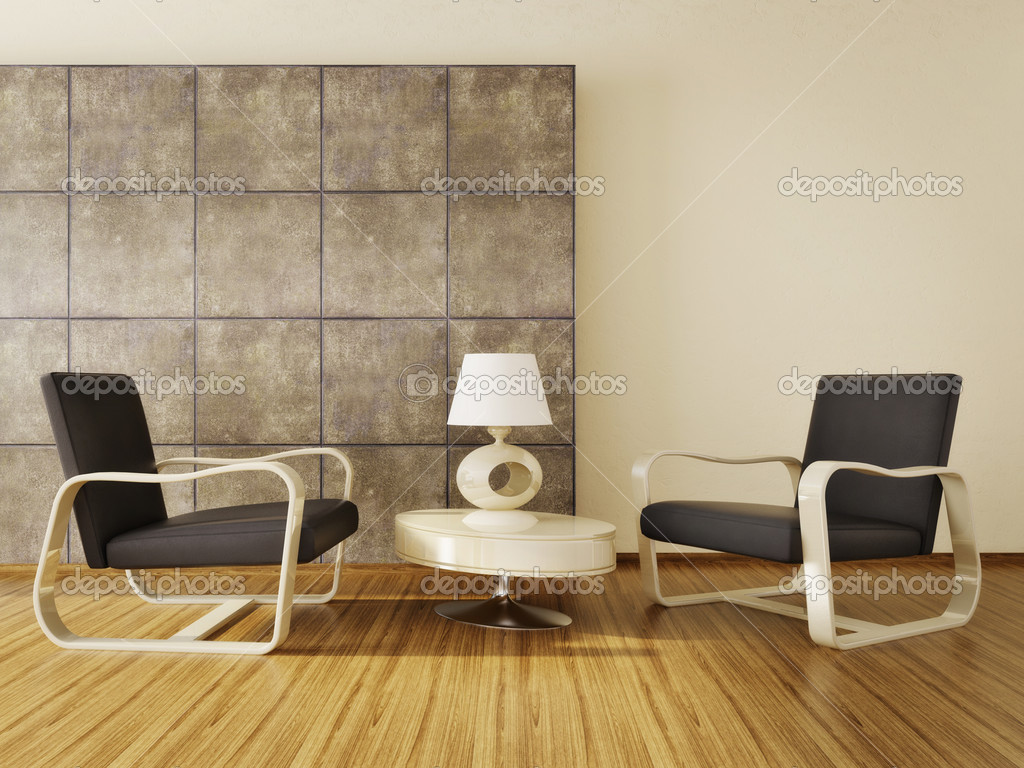 Modern Interior Room With Nice Furniture Inside Stock