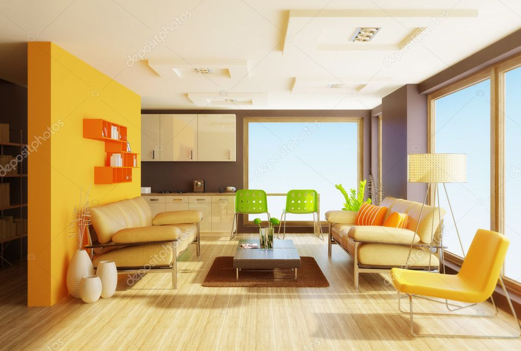 Modern interior room with nice furniture inside — Stock Photo #6918547
