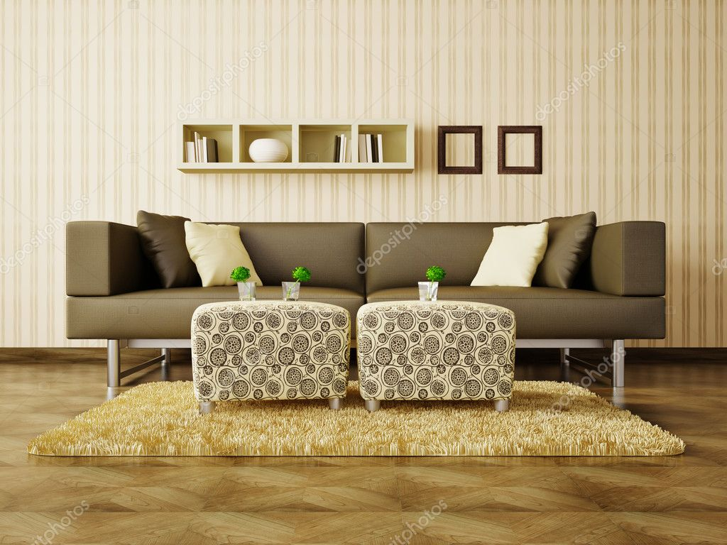 Modern interior room with nice furniture inside  Stock Photo #6918787