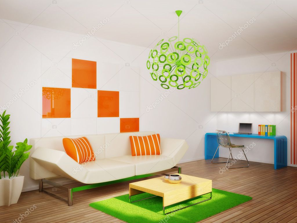 Modern interior room with nice furniture inside  Stock Photo #6918804