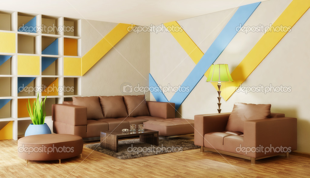 Modern interior room with nice furniture inside — Stock Photo #6919515