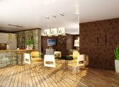 Quarto interior moderno com móveis bonitos dentro. — Fotografia Stock
