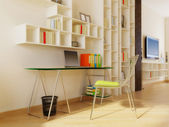 Moderna habitación interior con agradable decoración interior. — Foto de Stock