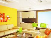 Moderna habitación interior con agradable decoración interior. — Foto de Stock