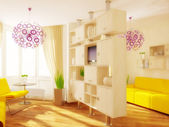 Moderní interiér pokoje s hezkým nábytkem uvnitř. — Stock fotografie