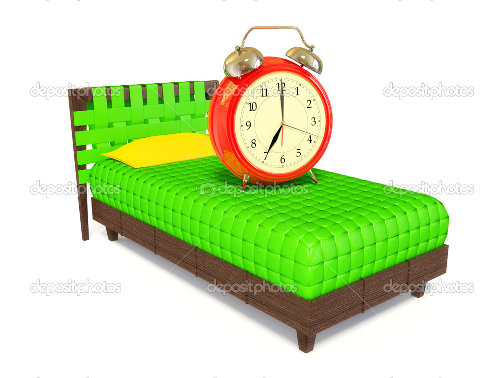Alarm clock set to 7am ringing on a bed  Stock Photo #6921352