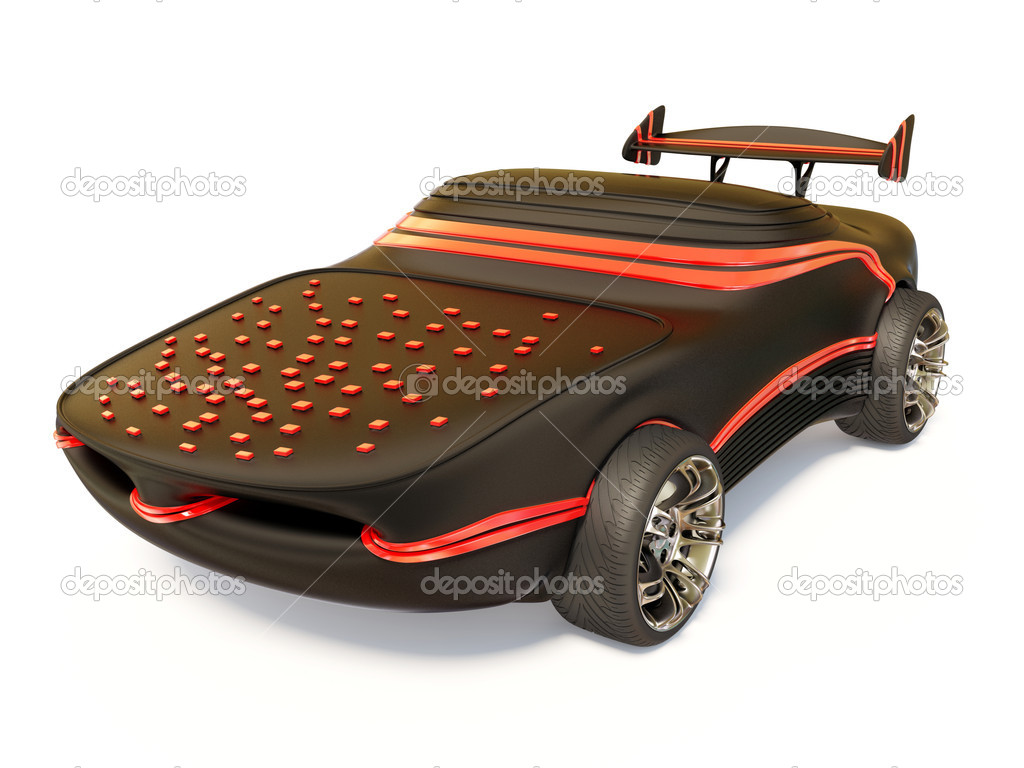 Black futuristic car on white background — Stockfoto #6921388