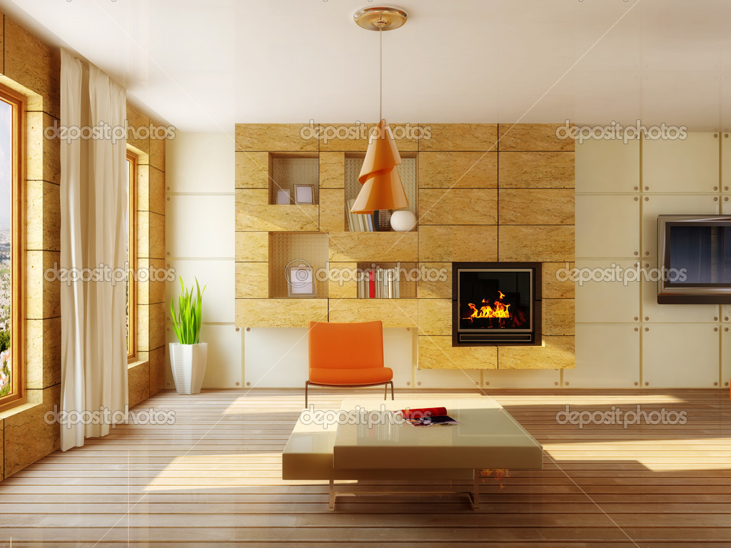 Modern interior room with tiles on the wall — Stock Photo #6921873
