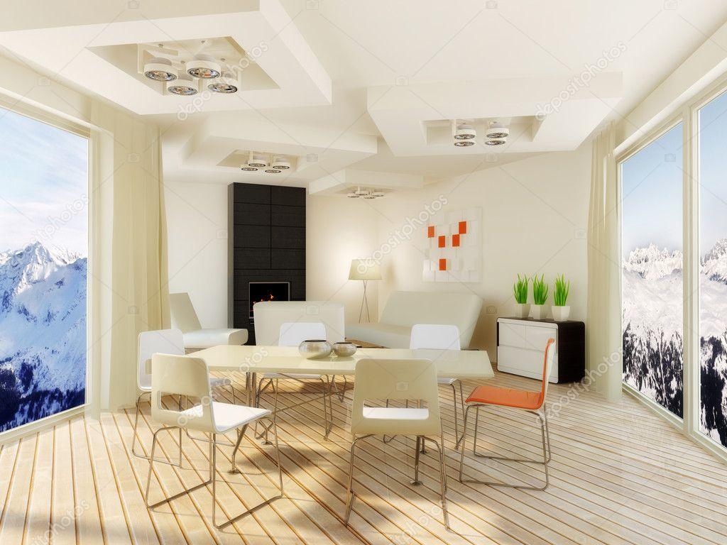 Moderna habitaci n interior con agradable decoraci n - Decoracion habitacion moderna ...