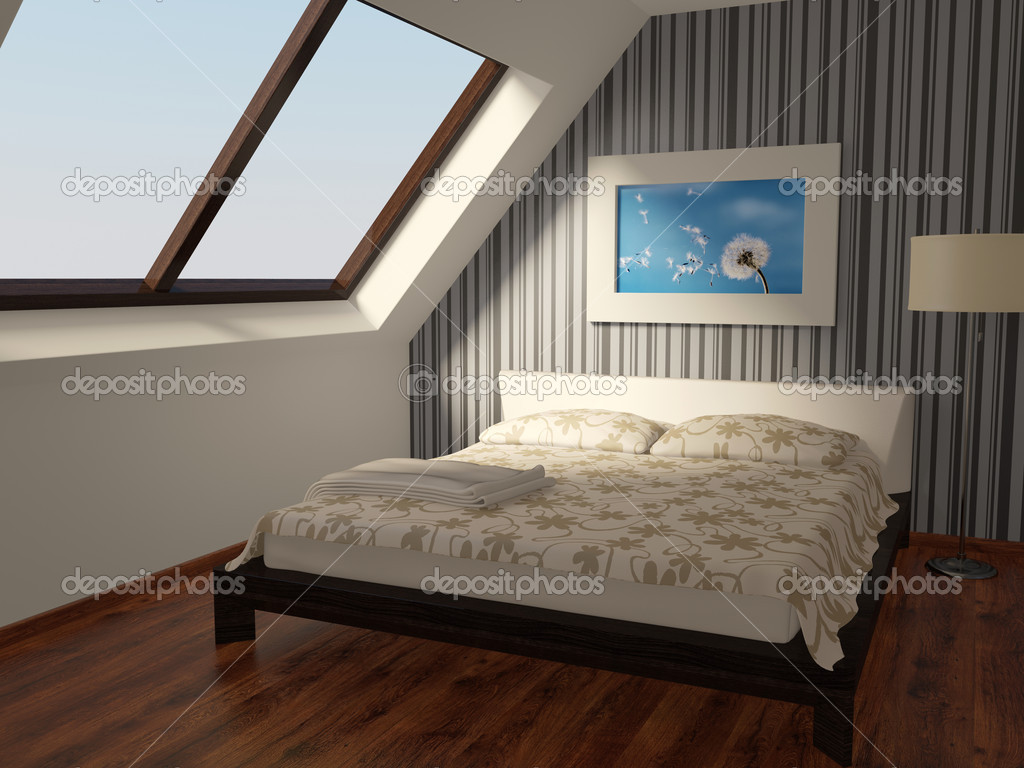 Modern furniture in bedroom with stripped wall  Stock Photo #6922643