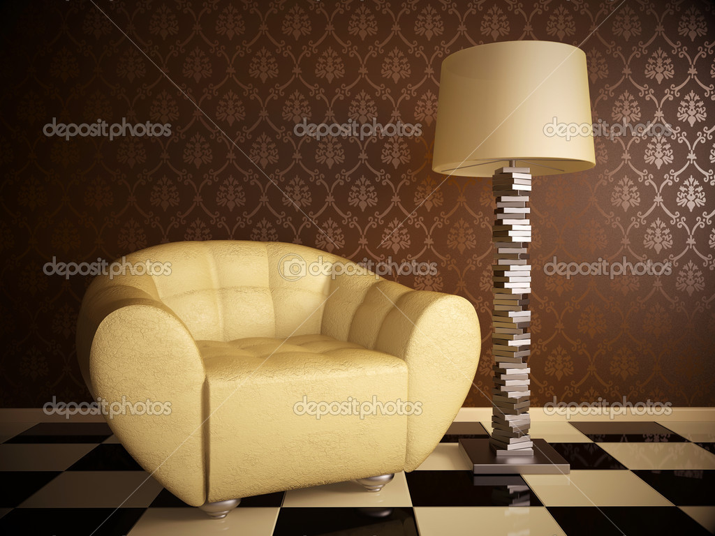 Milky leather armchair in brown modern room — Stock Photo #6922747