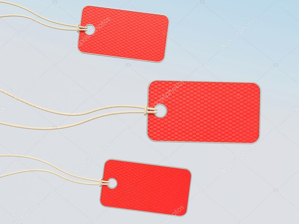 Red tags on white background — Stock Photo #6923386