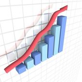 Business financial 3D graph — Stock Photo