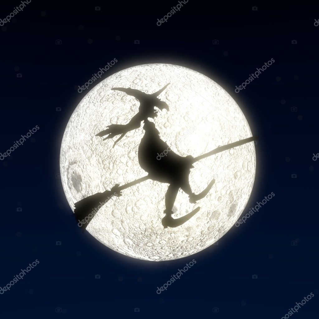 A witch flying on a broom in front of the moon — Stock Photo #6937919