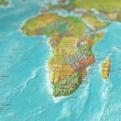 Map of Southern Africa focused and tilted — Stock Photo