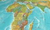Map of Africa focused and tilted — Stock Photo